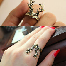 Vintage Bronze Little Cute Deer Finger Ring Retro Style Animal Knuckle Rings