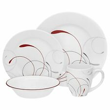 Corelle Vitrelle Splendor Round Kitchen Dinner Set Plate, Bowl, Cup, Soup, 16 Pi