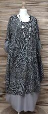 LAGENLOOK STUNNING LEOPARD PRINT 2 POCKETS DRESS/LONG TUNIC*GREY*BUST UP TO 50""
