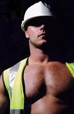Shirtless Male Muscular Beefcake Hairy Chest Construction Worker  PHOTO 4X6 C846
