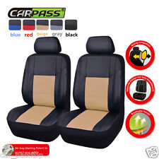 Universal PU LeatherTwo Front Beige Car Seat Covers Set  For Ford Toyota Corolla