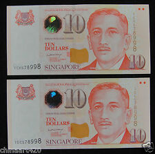 A Pair Singapore Paper Money 10 Dollars Sport 2005 UNC, The Same Number
