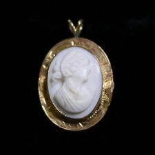 Vintage Antique 19th Century Victorian Angel Skin Pink Coral Shell Cameo Pendant