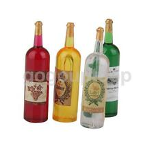 4 Dolls House Miniature Wine Bottle Pub Bar Food Drink Alcohol Party Tasting