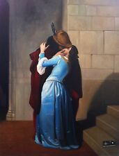 "STUNNING ORIGINAL ANTONIO SCIACCA MASTERPIECE OIL ""The Kiss"" Hayez PAINTING"