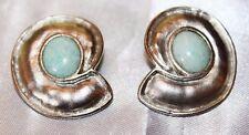Leslie Block Vintage Designer Modernist Peking Glass Hammered Earrings ED2