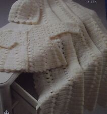 "CROCHET PATTERN - BEAUTIFUL BABY BLANKET/SHAWL, COAT & HAT IN DK  SIZE 14"" - 22"""