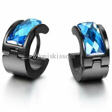 Black Stainless Steel Mens Hinged Huggie Hoop Blue Crystal Stud Earrings Set
