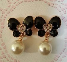 Black Butterfly, Hearts & Pearl & Crystal Earrings