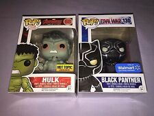 2x Funko POP BLACK PANTHER CIVIL WAR #130 & HULK AGE OF ULTRON #68 EXCLUSIVES