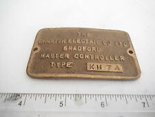 KM7A ENGLISH ELECTRIC CAST BRASS MASTER CONTROLLER PLATE 81mm