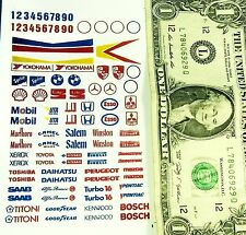 90's HO Slot Car STICKERS SHEET (NOT DECALS) Racing Sponsors ESSO,Mobil,Numbers