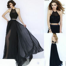 Two Pieces Black Backless Pleated Chiffon Formal Prom DressParty Evening Gown