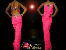 CHARISMATICO Latin Dance inspired pink Fringe pants with rainbow sequin trim