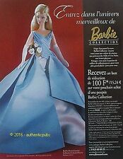 PUBLICITE BARBIE HAUTE COUTURE COLLECTION GALA DE CHARITE DE 201 FRENCH AD PUB