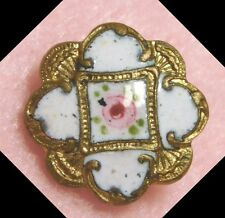 PRISTINE Small ANTIQUE Enamel Button VICTORIAN PINK ROSE