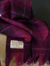 Luxury Harris Tweed Wool Scarf Purple Aubergine Pink Check Orange Magenta Lilac