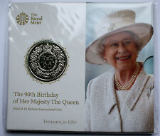 2016 NEW UK ROYAL MINT QUEEN ELIZABETH II 90TH BIRTHDAY FIVE POUND COIN £5 PACK
