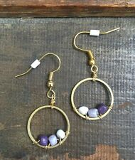 Summer Trend Purple Gray White Ombre Bead Circle Brass Gold Plated Hook Earrings