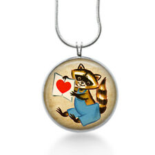 Raccoon holding a red heart jewelry love Necklace for her - handmade gifts