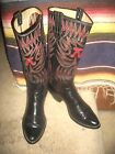 PAUL BOND UNISEX BLACK WITH RED STITCHING TALL COWBOY BOOTS 8 D OR 9.5 B