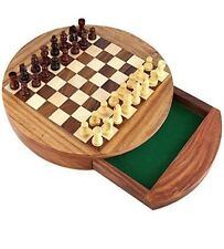 Magnetic Wooden Chess Set Storage Drawer Portable Top Quality Board Games 7''