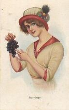 """""""SOUR GRAPES"""" (s. 1114) donnina con cappello e grappolo d'uva - stampa inglese"""