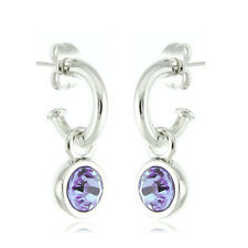 18k White Gold EP 3ct Brilliant Cut Amethyst Crystal Stud & Dangle Earrings