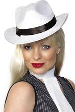 20er Jahre Gangster Hut weiß mit Hutband NEU - Karneval Fasching Hut Mütze Kopfb