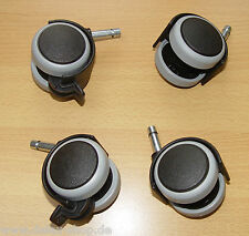 4-mal Möbelrolle Gummi grau ø 50 Klemmstift 8 mm mit ohne Bremse Hartbodenrolle