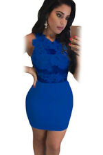 Blue Lace Mesh Applique Bodycon Mini Dress club wear size 8-10