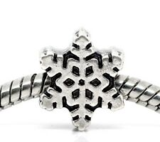 Snowflake Bead European Large Hole Frozen Ice Charm Silver Jewelry Lot of 10