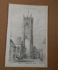 Antique Architects print St Lawrence Church Tower. building news 1882