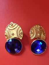 VINTAGE SIGNED BEN AMUN GOLD BLUE CLIP ON EARRINGS