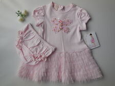 Biscotti baby toddler girl pink butterfly ruffle dress + panties size 2 NEW Gift