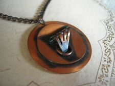 VTG Necklace COPPER Abstract Mid Century Modern Design Ship Sail Viking w chain