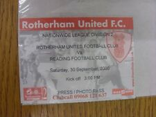 30/09/2000 Ticket: Rotherham United v Reading (Press/Photo Pass). Thank you for