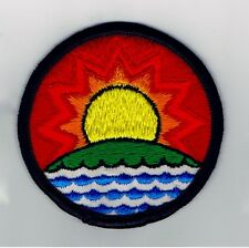 1980s Sew on Patch Sun Rising Setting Water Earth Blue Green Yellow Red NEW 3""