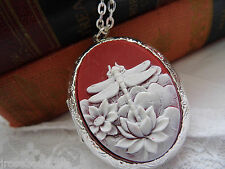 #JR109 URN VALENTINES red 925 PLT  DRAGONFLY PHOTO memory Necklace Locket CAMEO