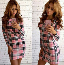 NEW Womens Plaid Blouse Tops Long Sleeve Checked Shirt Bodycon Party Mini Dress