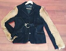 $2490 JUST CAVALLI BLACK SUEDE LEATHER & FUR JACKET sz 46 ITALY US 12-14