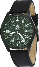 Orient FER2A002F Men's Flight Gunmetal Leather Band Green Dial  Automatic Watch