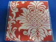 Red Damask Floral Garden Flower Open House Tea Party Paper Beverage Napkins
