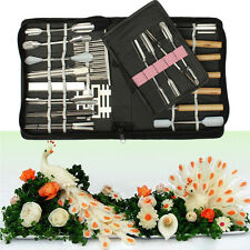 46pcs/Set Portable Vegetable Fruit Food Wood Box Peeling Carving Tools Kit Pack