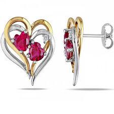 Herz Ohrstecker echt 925 Silber teils Vergoldet Rubin Zirkon Damen Ohrringe 10mm