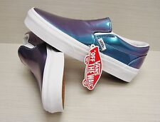 Vans Women's Classic Slip On Patent Leather Blue VN-0XG8EVW Size:6.5