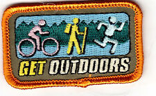 """""""GET OUTDOORS"""" - SPORTS, HIKING, RUNNING, BICYCLING-IRON ON EMBROIDERED PATCH"""