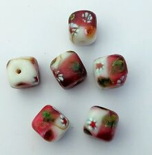 15 Indian lampwork cube beads. Red & white flower patterned. 15mm.