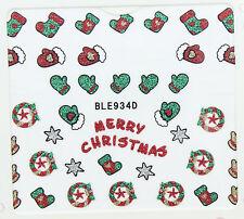 Navidad Rojo Verde Brillo Guantes Star coronas Stocking 3d Arte De Uñas Stickers