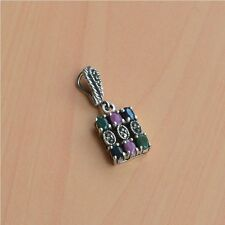 925 SOLID STERLING SILVER NATURAL EMERALD,SAPPHIRE,RUBY MARCASITE PENDANT W02022